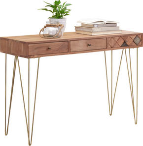 KONSOL - bronsfärgad/akaciefärgad, Trend, metall/trä (115/78/42cm) - Ambia Home