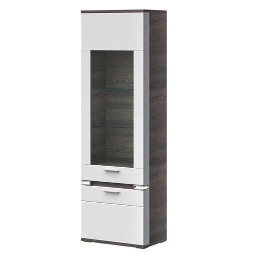 VITRINE Braun, Grau, Weiß - Alufarben/Braun, Design, Glas/Metall (65,1/207,4/41cm) - Stylife