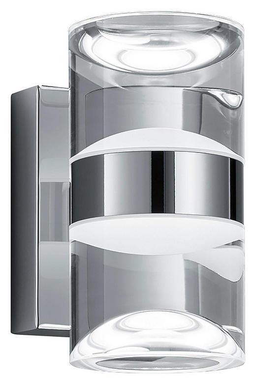 BADEZIMMER-WANDLEUCHTE - Klar/Chromfarben, Design, Kunststoff/Metall (16,0/8,5/12,5cm)