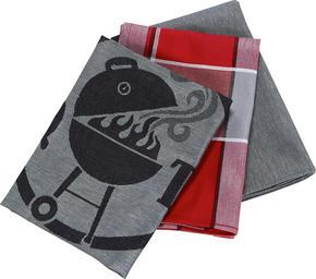 KÖKSHANDDUK SET - vit/röd, Klassisk, textil (50/70cm) - Esposa