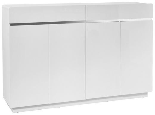 SCHUHSCHRANK Hochglanz Edelstahlfarben, Weiß - Edelstahlfarben/Weiß, Design, Holzwerkstoff/Metall (160,3/104,5/34,5cm) - Xora