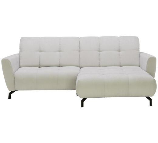 WOHNLANDSCHAFT in Textil Silberfarben  - Silberfarben/Schwarz, MODERN, Textil/Metall (242/176cm) - Hom`in