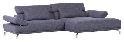 WOHNLANDSCHAFT Blau Flachgewebe - Blau/Chromfarben, Design, Textil (286/163cm) - Voleo