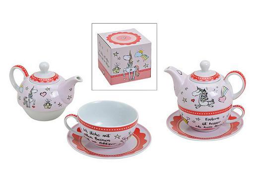 Porzellan  TEESET - Pink/Weiß, Trend, Keramik