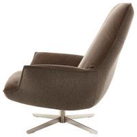 SESSEL in Leder, Textil Braun - Edelstahlfarben/Braun, Design, Leder/Textil (80/102/102cm) - Koinor