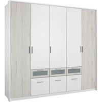 KLEIDERSCHRANK in Eichefarben, Weiß - Eichefarben/Alufarben, Design, Holzwerkstoff/Kunststoff (230/212/56cm) - CARRYHOME