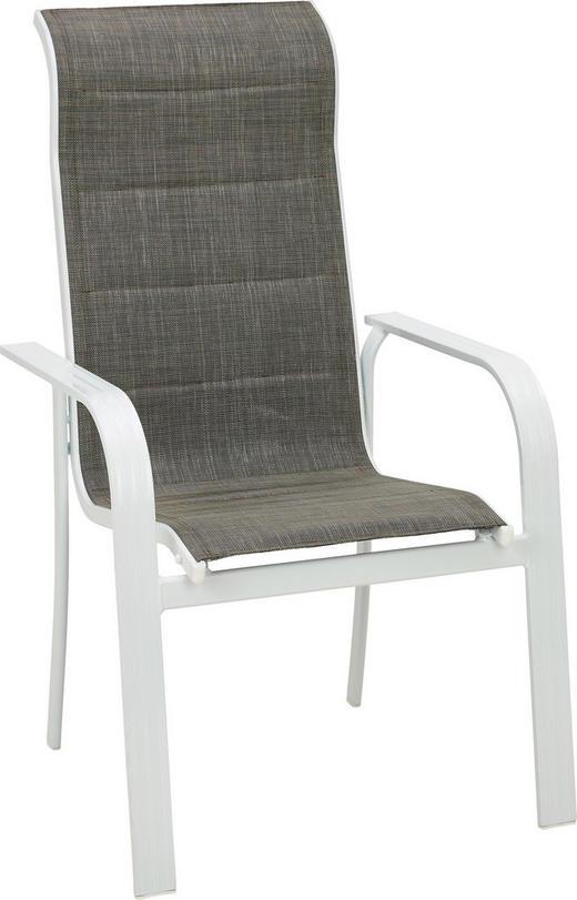 STAPELSESSEL Aluminium Braun, Weiß - Braun/Weiß, Design, Textil/Metall (64/108/74cm) - Ambia Garden