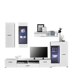 HYLLKOMBINATION - vit/svart, Design, glas/träbaserade material (276/195/45cm) - Carryhome