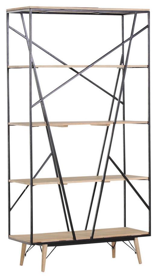 REGAL Mangoholz massiv Naturfarben, Schwarz - Schwarz/Naturfarben, Design, Holz/Metall (100/190/40cm) - Carryhome