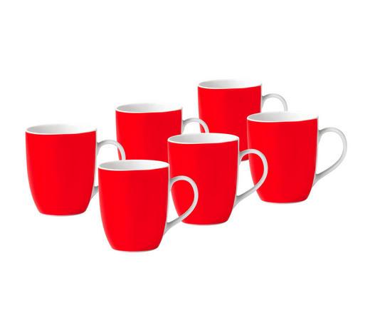 KAFFEEBECHERSET 6-teilig Keramik Porzellan Rot, Weiß  - Rot/Weiß, Basics, Keramik (11/10/8cm)