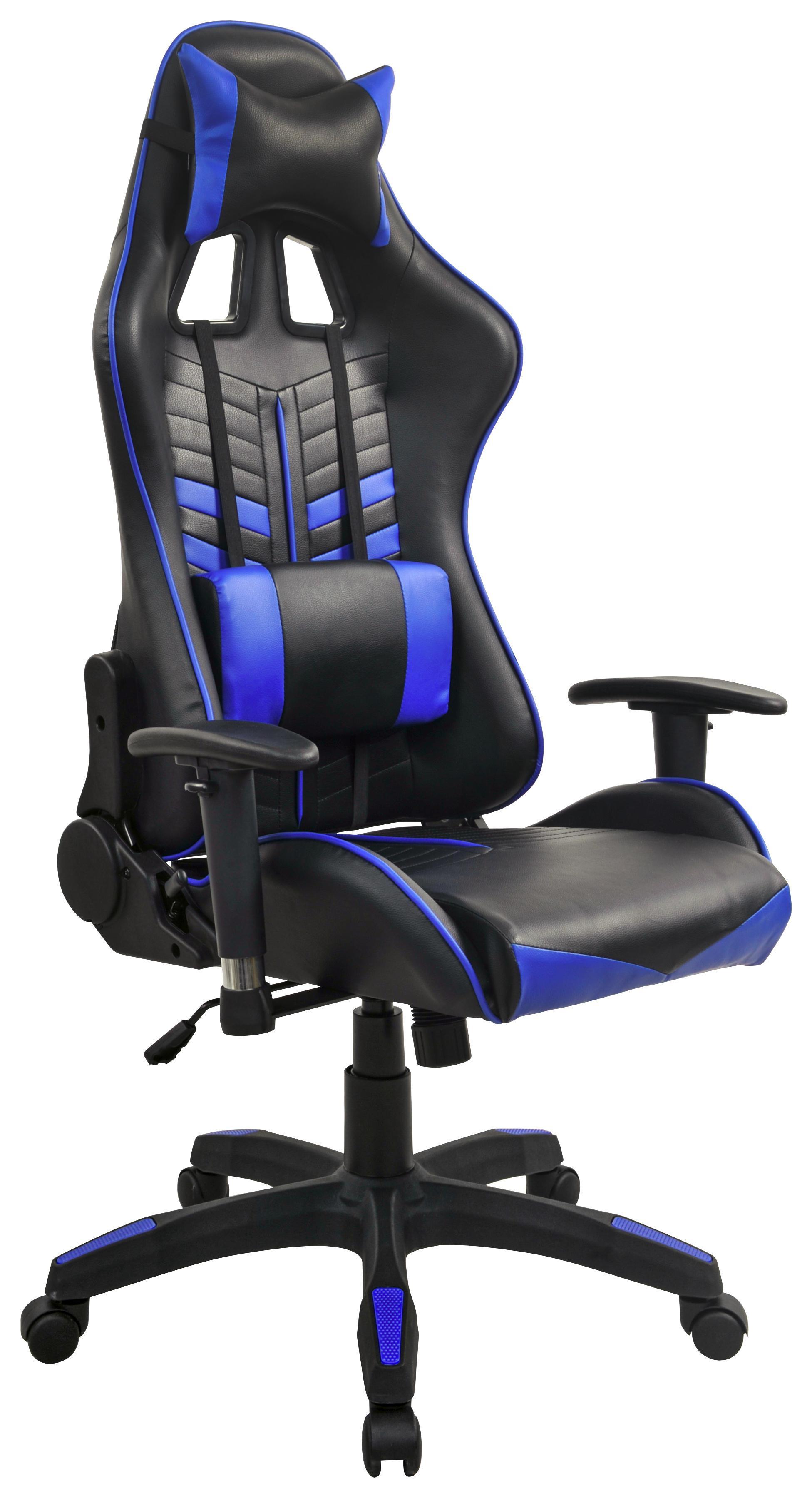 Gamingstuhl Blau Schwarz Kunststoff Textil