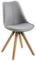 STUHL Webstoff Kautschukholz massiv Grau - Eichefarben/Grau, Design, Holz/Kunststoff (48,5/85/55cm) - Carryhome