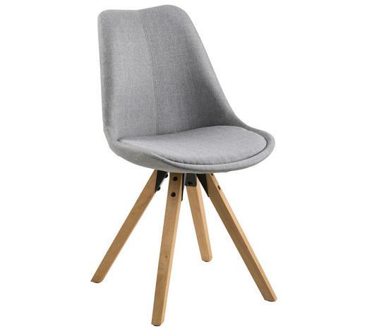 Stuhl Webstoff Kautschukholz Massiv Grau