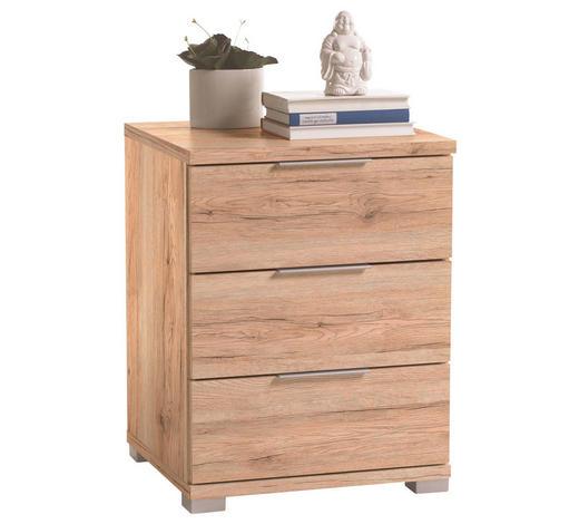 NOČNA OMARICA, hrast  - hrast/krom, Design, leseni material (46/61/42cm) - Boxxx
