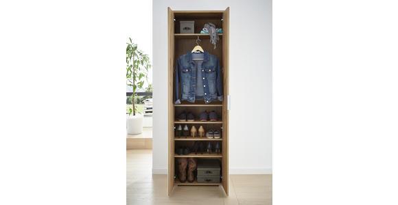 GARDEROBENSCHRANK 59/197/40 cm  - Eichefarben/Alufarben, Design, Glas/Holzwerkstoff (59/197/40cm) - Voleo
