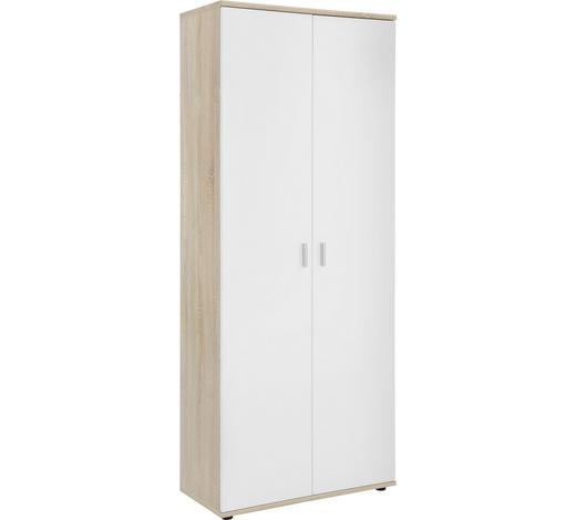 SCHUHSCHRANK Weiß, Eichefarben  - Eichefarben/Silberfarben, Design, Holzwerkstoff/Kunststoff (69/176/35cm)