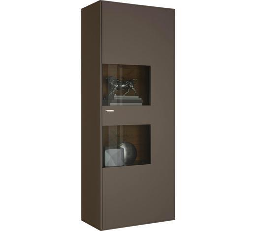 VITRINE in Taupe  - Taupe/Edelstahlfarben, Design, Glas/Holzwerkstoff (76/198/41cm) - Moderano