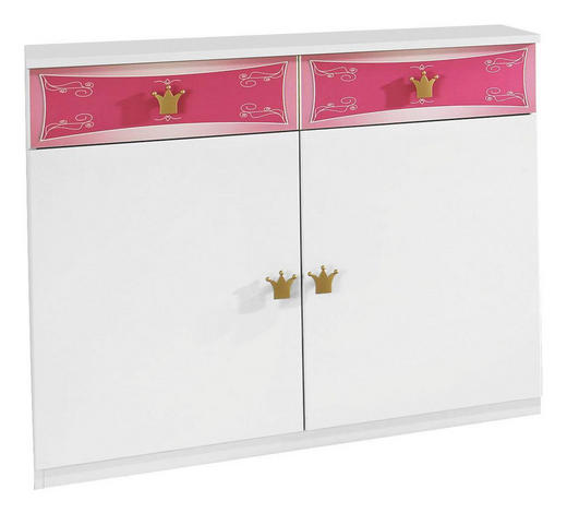 KOMMODE Strukturlack, Wasserlack Rosa, Weiß - Goldfarben/Rosa, Design, Holzwerkstoff/Kunststoff (100/86/38cm) - Carryhome