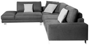 WOHNLANDSCHAFT in Textil Grau  - Chromfarben/Hellgrau, Design, Textil/Metall (273/316cm) - Dieter Knoll