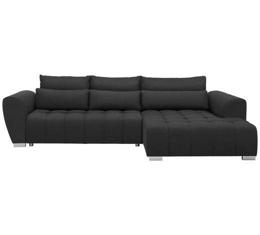 WOHNLANDSCHAFT in Textil Dunkelgrau - Dunkelgrau/Silberfarben, MODERN, Kunststoff/Textil (304/218cm) - Carryhome