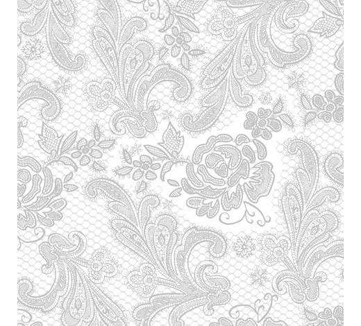 SERVIETTE - Silberfarben/Weiß, Basics, Papier (33/33cm)
