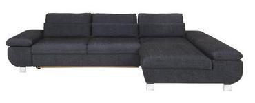 WOHNLANDSCHAFT Webstoff Nierenkissen - Chromfarben/Dunkelblau, Design, Textil/Metall (310/203cm) - Venda