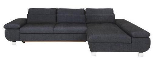 WOHNLANDSCHAFT Dunkelblau Webstoff - Chromfarben/Dunkelblau, Design, Textil/Metall (310/203cm) - Venda