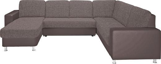 WOHNLANDSCHAFT Lederlook, Webstoff - Dunkelbraun/Alufarben, KONVENTIONELL, Textil/Metall (167/303/229cm) - Xora