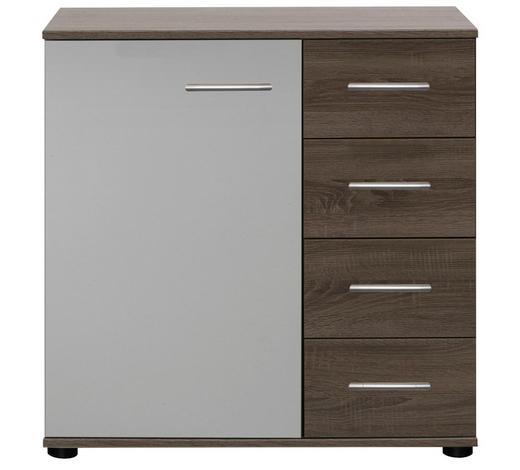 KOMODA, bílá, jílová barva - bílá/černá, Design, kov/kompozitní dřevo (81/83/41cm) - Carryhome