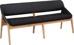 SITZBANK Kombination Echtleder/Stoff Kerneiche vollmassiv Eichefarben, Schwarz - Eichefarben/Schwarz, Design, Leder/Holz (180/81/55cm) - Valnatura