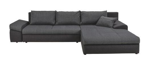 Ecksofa Webstoff Bettkasten, Rückenkissen, Schlaffunktion, Zierkissen - Anthrazit/Schwarz, Design, Kunststoff/Textil (313/215cm) - Carryhome