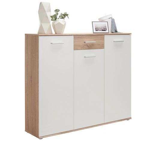 BOTNÍK, bílá, Sonoma dub,  - bílá/barvy stříbra, Design, kompozitní dřevo/umělá hmota (136/120/36cm) - Carryhome