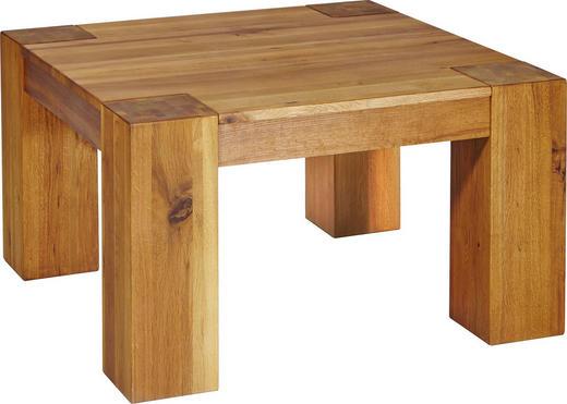 COUCHTISCH Eiche massiv quadratisch Eichefarben - Eichefarben, Basics, Holz (80/45/80cm) - LINEA NATURA