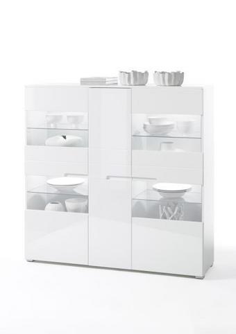 KOMODA VISOKA - bijela/boje srebra, Design, staklo/drvni materijal (145/143/38cm) - XORA