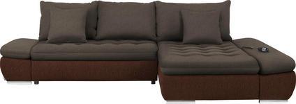 WOHNLANDSCHAFT Armteilverstellung, Bettkasten, Relaxfunktion, Rückenkissen, Schlaffunktion, Zierkissen - Chromfarben/Braun, Design, Textil/Metall (309/200cm) - Hom`in