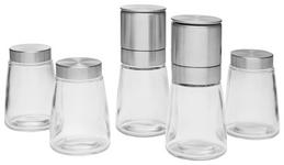 Gewürzmühlenset 5-teilig - Edelstahlfarben/Transparent, Basics, Glas/Keramik - Homeware