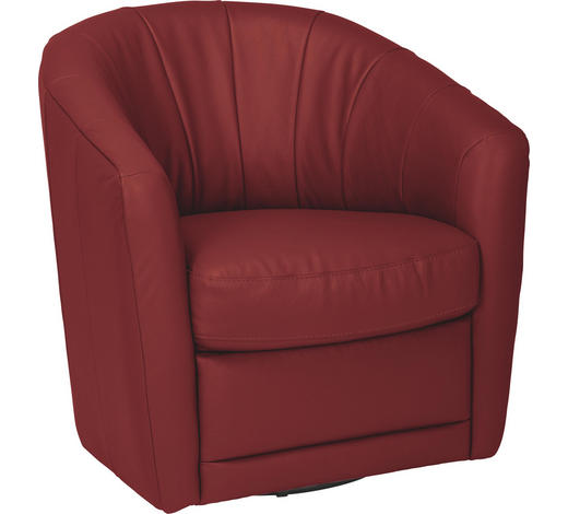 SESSEL in Leder Rot - Rot, Design, Leder/Metall (81/86/77cm) - Celina Home