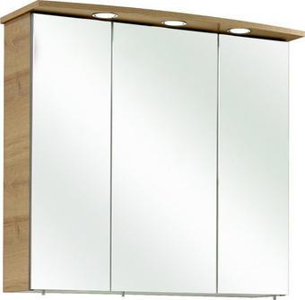SPIEGELSCHRANK Eichefarben - Chromfarben/Eichefarben, KONVENTIONELL, Holzwerkstoff (75/70/20cm) - Xora