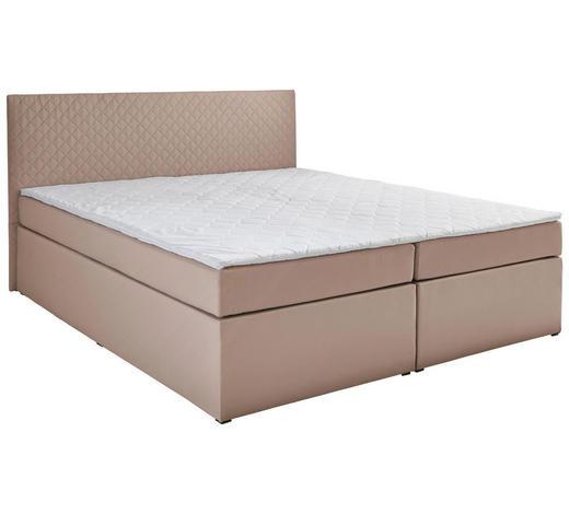BOXSPRINGBETT Flachgewebe 160/200 cm  INKL. Matratze, gepolstertes Kopfteil, Topper  - Sandfarben, Basics, Holzwerkstoff/Textil (160/200cm) - Carryhome