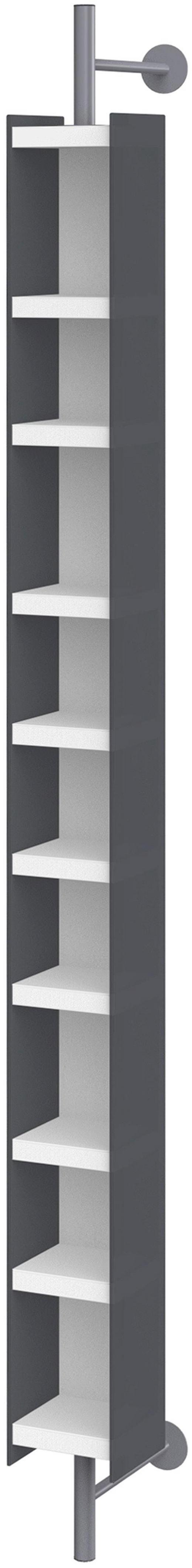 DVD-REGAL Graphitfarben, Weiß - Graphitfarben/Weiß, Design, Glas/Holzwerkstoff (15,6/213,6/34,7cm) - Xora