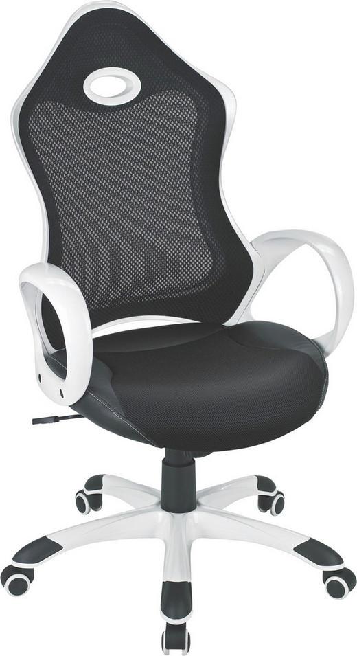 CHEFSESSEL Lederlook, Netz Schwarz, Weiß - Schwarz/Weiß, Design, Kunststoff/Textil (63/110,5-122,/68cm) - XORA