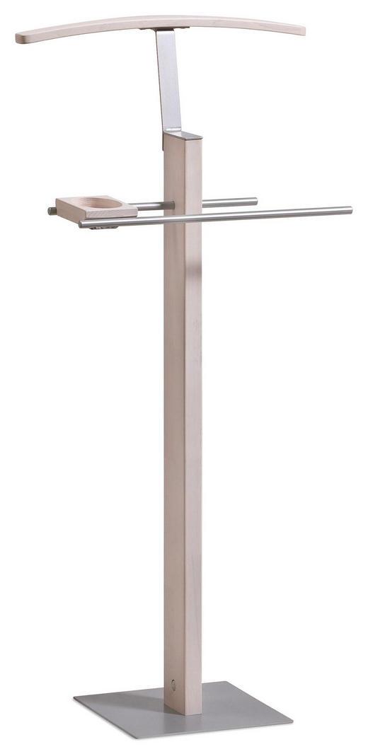 HERRENDIENER Edelstahlfarben, Eichefarben, Weiß - Edelstahlfarben/Eichefarben, KONVENTIONELL, Holz/Metall (45/107/28cm) - Hasena