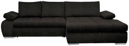 WOHNLANDSCHAFT in Textil Dunkelbraun  - Chromfarben/Dunkelbraun, Design, Kunststoff/Textil (294/173cm) - Carryhome