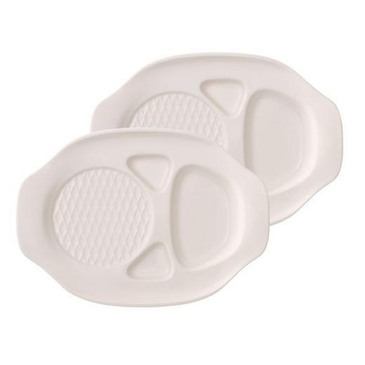 BURGERTELLER Keramik Porzellan 2-teilig - Creme, Basics, Keramik (25,5/36cm) - Villeroy & Boch