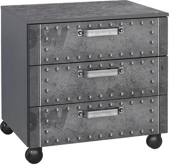 Rollcontainer Industrial-Print Grau - Alufarben/Grau, Design, Kunststoff/Metall (55/54/42cm) - Carryhome