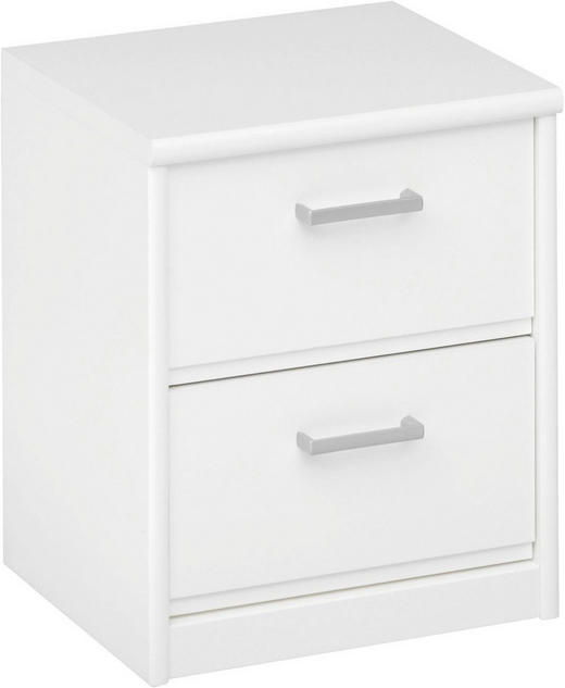 NACHTKÄSTCHEN Weiß - Silberfarben/Weiß, KONVENTIONELL, Holzwerkstoff/Kunststoff (38/46/36cm) - CS SCHMAL