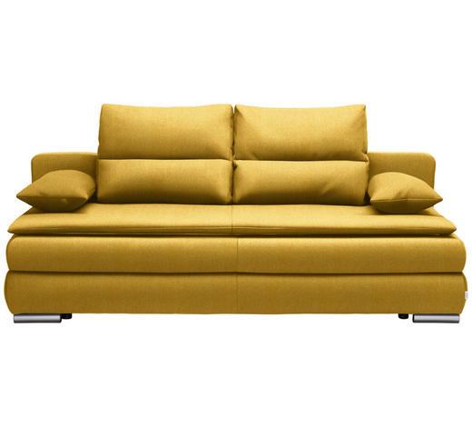 SCHLAFSOFA in Textil Gelb - Gelb/Silberfarben, KONVENTIONELL, Kunststoff/Textil (207/94/90cm) - Venda