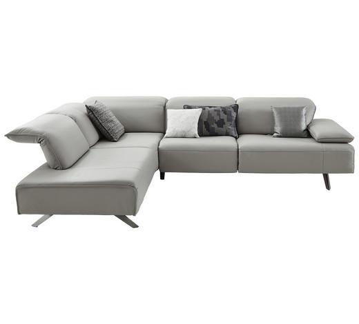 WOHNLANDSCHAFT in Leder Silberfarben  - Dunkelgrau/Anthrazit, Design, Leder/Metall (229/291cm) - Ambiente