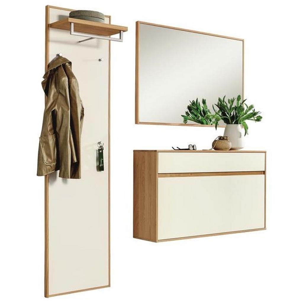 Garderobe , Weiß, Eiche , Holz, Glas , 3-teilig , Eiche , teilmassiv , 155x195x31 cm , Garderobe, Garderobensets
