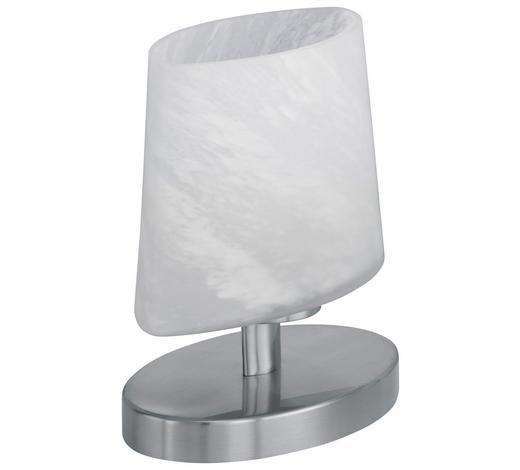 TISCHLEUCHTE - Weiß/Nickelfarben, KONVENTIONELL, Glas/Metall (13/18/13cm)